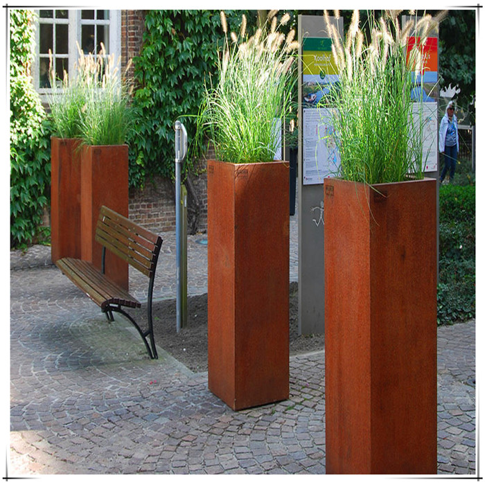 corten steel flower planter