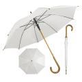 2020 Großhandel Holzrahmen Hochzeit weißen Sublimation geraden Holzgriff Regenschirm für Geschenk