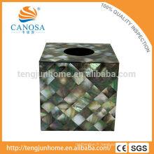 Boîte à tissus en nacre noire de l'artisanat naturel
