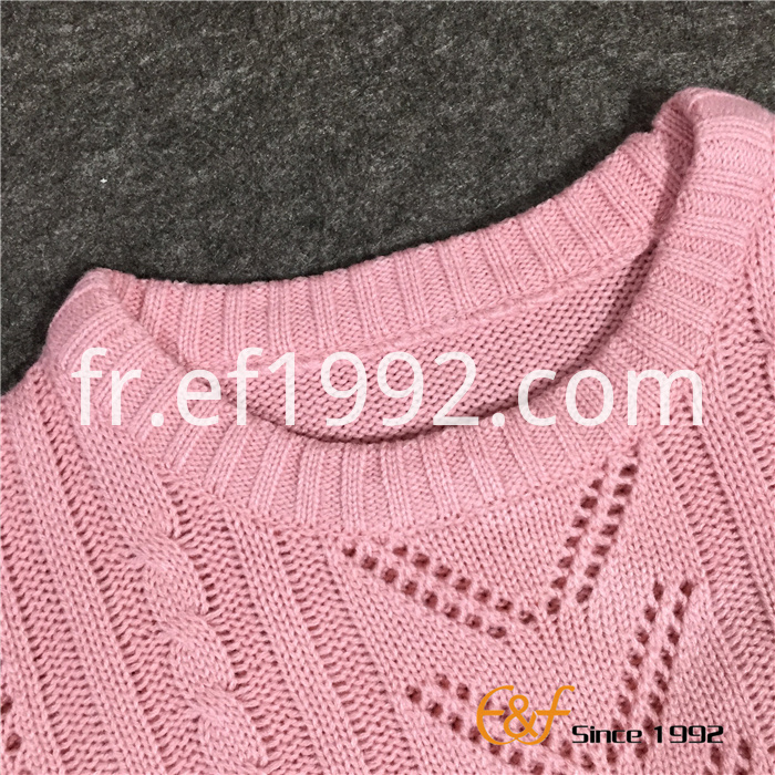 Plain Classic Pointelle Structure Women's Spring Autumn Sweaters