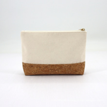 Natural Material Environmental Protection Recycled Cotton Canvas with Cork Cosmetic Pouch