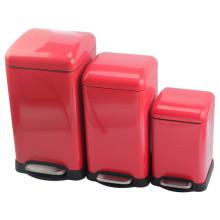 Elegante conjunto combinado de bote de basura rojo de 3 piezas