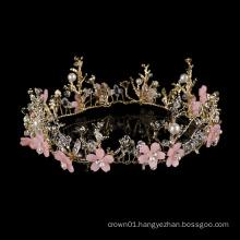 Hot sale wholesale Vintage Baroque Korean Vine Styling Alloy Wedding Tiara Princess rhinestone Elegant pink round crystal crown