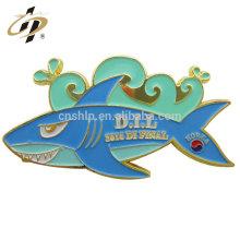 Wholesale price shark shape custom size soft enamel metal badge label pin