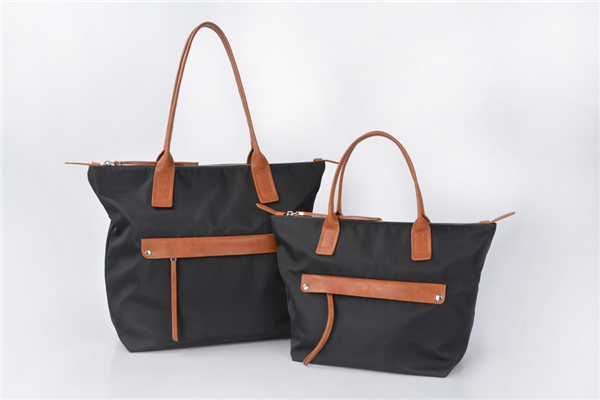 Nylon Handbags Women Tote Bag Shoulder Bag with Leather Handles