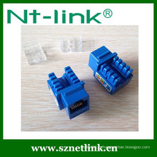 Netlink Hot Sale 90 degrés UTP Dual IDC RJ45 Cat5E Keystone Jack