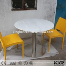Mesa de centro redonda acrílica branca maciça pura