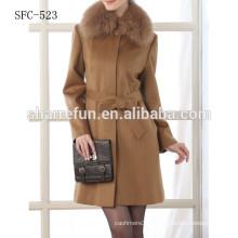 100% кашемир пальто с меховым воротником для женщин