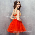 2017 New fashion short design evening dress tulle v neck backless red bridesmaid dresses with gold lace