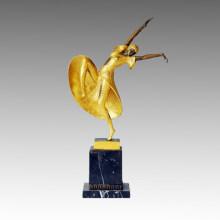 Dancer Bronze Sculpture Overgild Lady Amelia Brass Statue, D. H. Chiparus TPE-188j