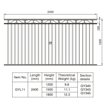 Aluminum Black Gargen Fence Section