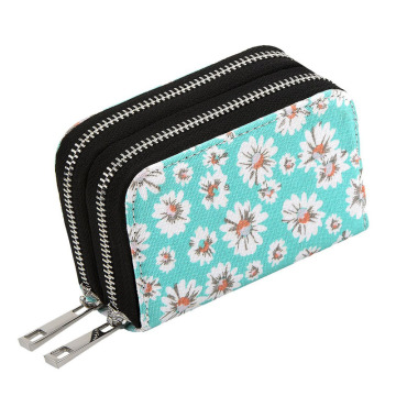 Portafoglio di carte di credito Mini Canvas Zipper Security s