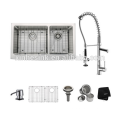 Handmade R10&R15/Zero Radius Stainless Steel Kitchen Sink with Full/Semi Apron Front