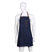 Blue high quality multi-pockets leather belt denim apron