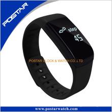 Montre intelligente de bracelet de bande de silicone avec la fréquence cardiaque