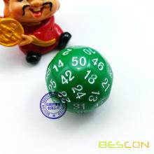 Bescon Polyhedral Dice 50-sided Gaming Dice, D50 die, D50 dice, 50 Sides Dice, 50 Sided Cube of Green Color