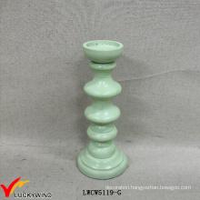 Decor Wood Vintage Mint Green Pillar Candle Holders