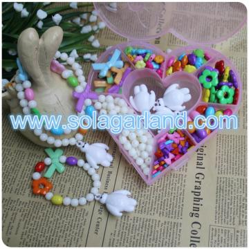 Lovely Heart Shape Plastic Box For Jewelry Beads Pills Storage With 9 Small Containers Jars