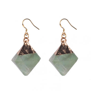 Amazing Natural Rainbow Raw Fluorite Dangling Earrings