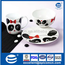 3pcs porcelain dinner gift set for children daily use with panda decoration