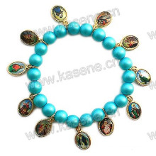 Günstige Glasperlen Perlen mit Saint Alloy Blatt, religiöses Gebet Armband