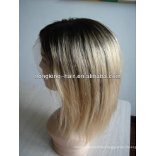 8 inch silky straight two tone ombre human hair wig