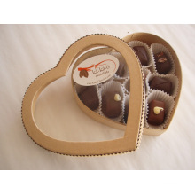 Valentine′s Day Heart-Shape Chocolate Box with Window / PVC Window Chocoalate Case / Heart Chocolate Box with Window
