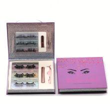 SL006H Hitomi Wholesale Mink Eyelash Vendor soft natural Fluffy Magnetic mink Eyelashes with Eyeliner and tweezers