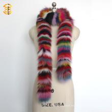 Arco iris largo del estilo Deyed colorido bufanda real del mantón de la piel del Fox para las mujeres o la señora