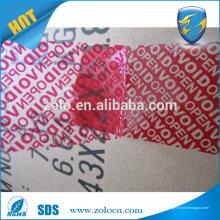 ZOLO alta calidad de seguridad bopp cinta de embalaje azul y rojo vacío cinta transparente