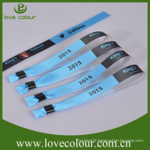 Custom one-off event satin ribbon wristband with full color printing