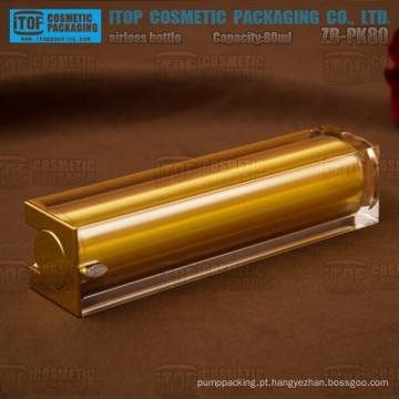 Luxo quente-vendendo de ZB-PK80 80ml 80ml ouro garrafa quadrada acrílica cosméticos sem ar