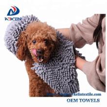 40x70cm dog chenille bath towel microfiber long hair pet towel with hand pocket
