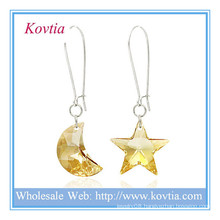 Wholesale alibaba austrian crystal moon and star shape silver dangle earring
