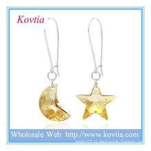Atacado alibaba lua de cristal austríaca e estrela forma prata dangle brinco