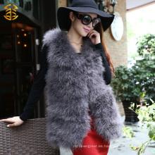 Vestido genuino de la piel de Turquía de la pluma Vestido largo de la señora del estilo del chaleco de la señora