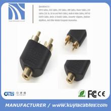 RCA femelle à 2 RCA mâle AV Y-Splitter adaptateur connecteur pour câble audio