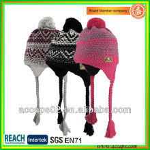 fashion jacquard weave acrylic beanie hat with pompom and pigtail BN-2035