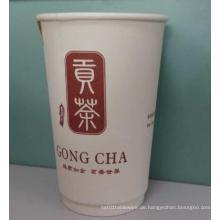 Doppelwandige Papierkaffeetasse mit Deckel