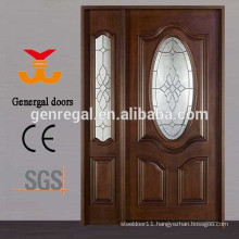Exterior Art glass inserts entry wood Door