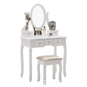 furniture wood dressing table with mirror
