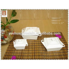SGS & FDA food safe white porcelain wholesale bowl with lid