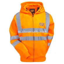 Hola Vis Orange Reflective Full-Zip Lined Sudadera