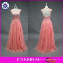 Elegant Round Neck Sleeve Sleeve Beaded Crystal Long Tulle Long Peach Prom Dress