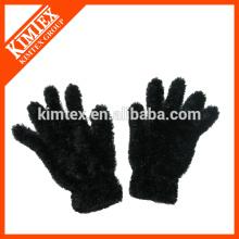 Ladies custom knit faux fur gloves