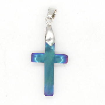 Unique Rainbow Hematite Cross Pendant With Toggle Clip For Girlfriend
