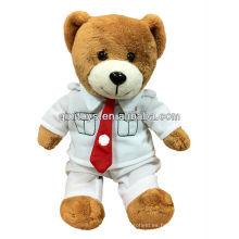 Oso de peluche marrón 2013 de la nueva llegada / oso de la graduación con la camiseta y la corbata roja