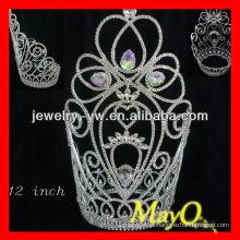 12 '' grande coroa da tiara do desfile do cristal de rocha, cristal grande de Ab
