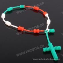 Personalizado pulseira de borracha de moda multicolorida de silicone