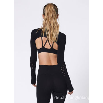 Damen Langarm Ultra Crop Top